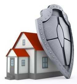 Hazard Insurance concept, protecting home with sheild