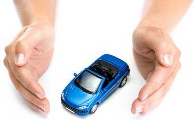 protecting a blue car with hands