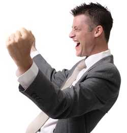 happy businessman excited with joy