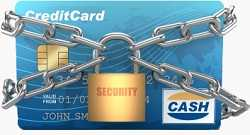 credit card secured with a lock and chain