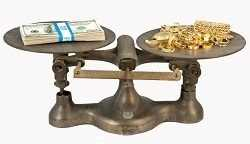 measuring between cash and gold in a manual scale