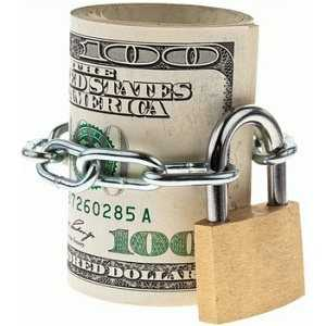 currency notes dollars secured by a lock and chain