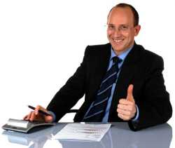financial adviser with a thumbs up