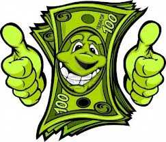 happy money mascot with a thumbs up