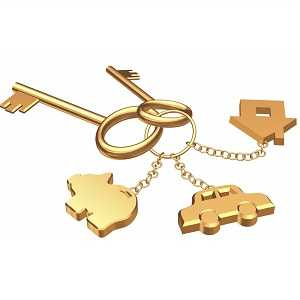 Golden key chain with a car, house and piggy bank